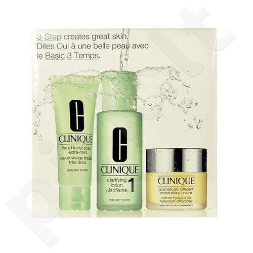 Clinique 3 Step Skin Care System 1 Kit rinkinys moterims, (50ml veido muilas Extra Mild + 100ml losjonas 1 + 30ml Dramatically Different drėkinamasis kremas)