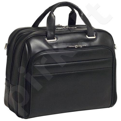 MCKLEIN Springfield 86595 juoda ekskliuzivinė odinė rankinė nešiojamam kompiuteriui 17