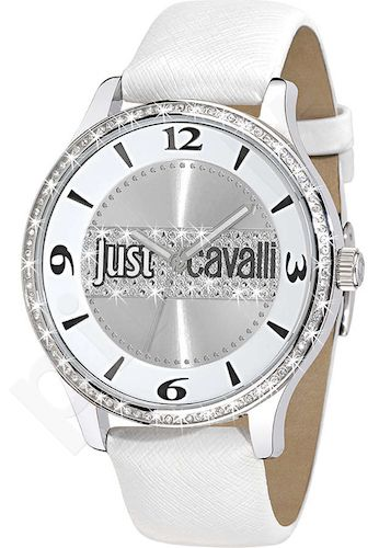 Laikrodis JUST CAVALLI HUGE moteriškas kvarcinis SS Case leather strap. Swarovsky 45mm. WR 3ATM