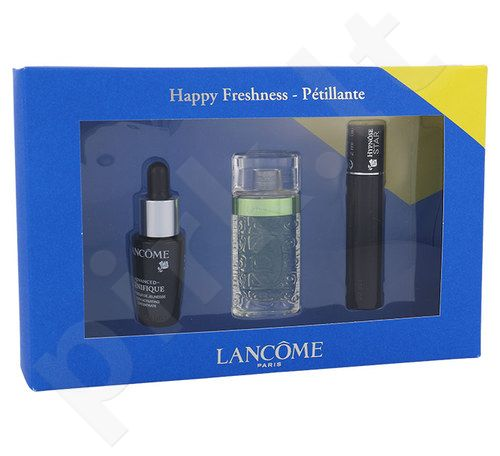 Lancome Happy Freshness Kit rinkinys moterims, (7ml Advanced Genifique Youth Activating Concentratas + 7,5ml EDT O De Lancome + 2ml blakstienų tušas Hypnose Star atsparus vandeniui 01)