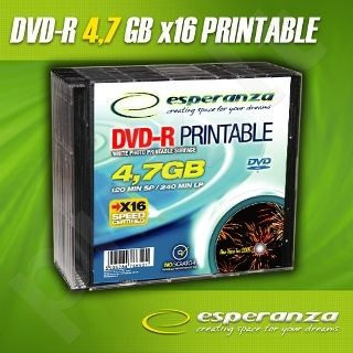DVD-R ESPERANZA [ slim jewel case 10 | 4,7GB | 16x | printable ]
