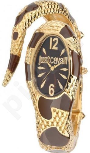 Laikrodis JUST CAVALLI TIME POISON kvarcinis. SS Case. Enamelled Brown/Gold PVD apyrankė 24x . WR 30mt