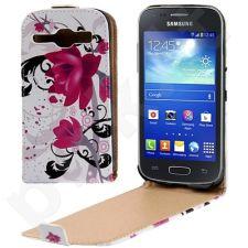 Samsung Galaxy Core dėklas FLOWERS Telemax baltas