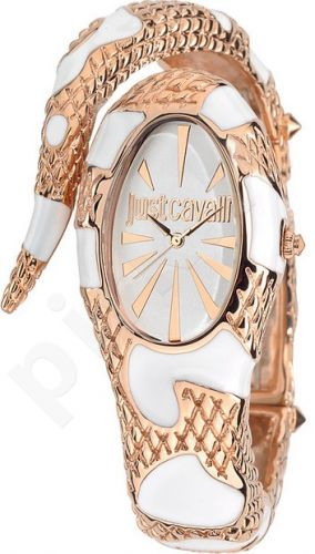 Laikrodis JUST CAVALLI TIME POISON kvarcinis. SS Case. Enamelled White/Rose Gold PVD apyrankė 24x . WR 30mt