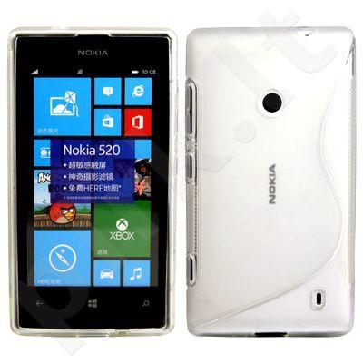 Nokia 520 Lumia dėklas SILICON Telemax baltas permatomas