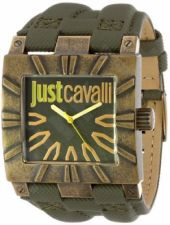 Laikrodis JUST CAVALLI TIME TIMESQUARE kvarcinis. S/S TUMBLED CASE - leather STRAP - GREEN DIAL