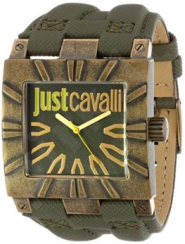 Laikrodis JUST CAVALLI TIME TIMESQUARE kvarcinis. S/S TUMBLED CASE - leather STRAP - GREEN DIAL
