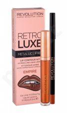 Makeup Revolution London Metallic Lip Kit, Retro Luxe, rinkinys lūpdažis moterims, (Liquid lūpdažis 5,5 ml + lūpų pieštukas 1 g), (Empire)