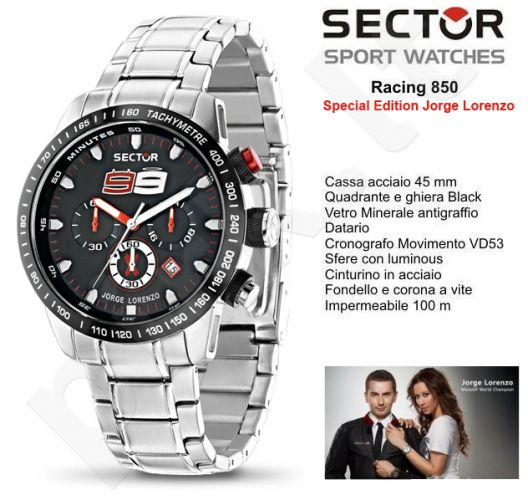 Laikrodis Sector   850 Racing. Multifunction or   version. 45mm.