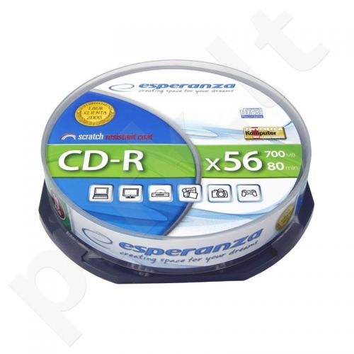 CD-R ESPERANZA [ cakebox 10 | 700MB | 52x | Silver ]