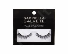 Gabriella Salvete False Eyelashes, rinkinys dirbtinės blakstienos moterims, (False Lashes 1 pair + Glue for Lashes 1 g), (Black)