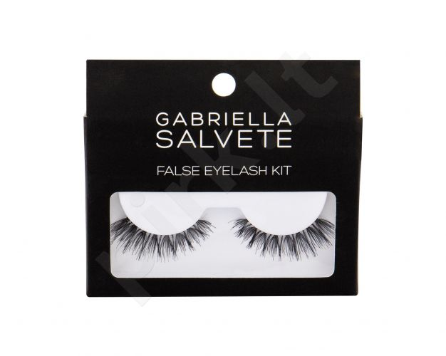 Gabriella Salvete False Eyelashes, rinkinys dirbtinės blakstienos moterims, (False Lashes 1 pair + Glue for Lashes 1 g), (Black)