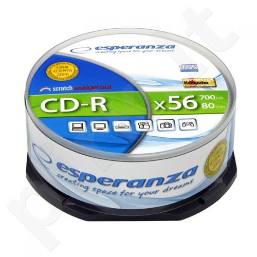 CD-R ESPERANZA [ cake box 25 | 700MB | 52x | Silver ]