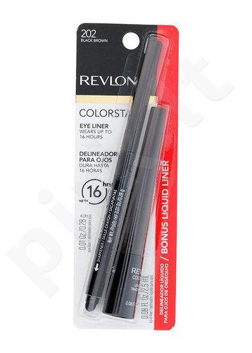Revlon Colorstay akių kontūrų priemonė 16H Duo Kit rinkinys moterims, (0,28g Colorstay akių kontūrų priemonė 16H + 2,5ml Colorstay Liquid lainieris 252) , (202 Black Brown)