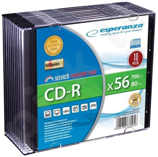 CD-R ESPERANZA [ slim jewel case 10 | 700MB | 56x | Silver ]
