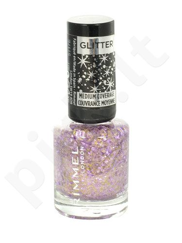 Rimmel London Glitter Medium Coverage nagų lakas, kosmetika moterims, 8ml, (012 Glitter Fingers)