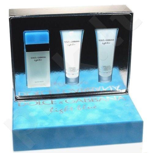Dolce & Gabbana Light Blue rinkinys moterims, (EDT 50ml + 50ml kūno kremas + 50ml dušo želė)