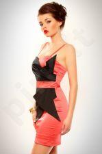 3202-2 Šifono suknelė rožinė-juoda