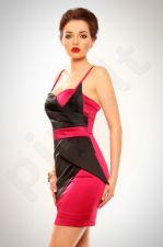 3202-3 Šifono suknelė ružava-juoda