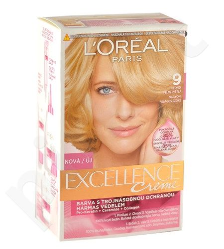 L´Oreal Paris Excellence Creme Hair Colour, kosmetika moterims, 1vnt, (9 Natural Light Blonde)