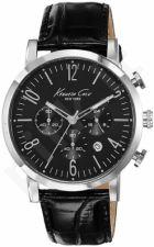 Laikrodis KENNETH COLE - SPORT vyriškas S /S chronometras CROCODILE TEXTURE BLACK STRAP