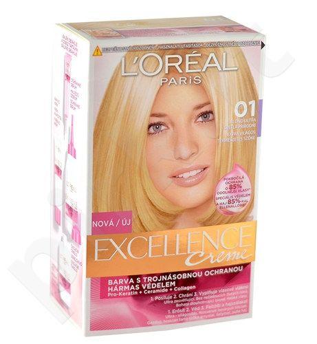 L´Oreal Paris Excellence Creme plaukų dažai, kosmetika moterims, 1vnt, (01 Lightest Natural Blonde)