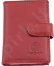 KRENIG Classic 12081 raudonas odinis dėklas kortelėms