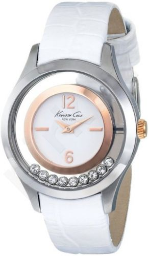 Laikrodis KENNETH COLE - TRANSPARENCY moteriškas WITH STONE IP GOLD S /S WHITE STRAP