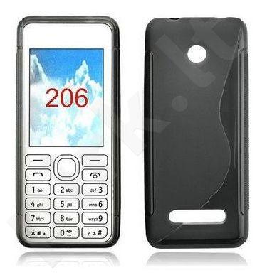 Nokia 206 Asha dėklas SILICON Forever juodas