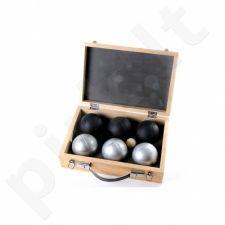 Petankės rinkinys 6 rutuliai 720gr. (2 spalvų) medinėje dėžutėje