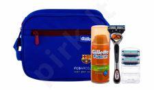 Gillette Fusion Proglide, rinkinys skutimosi peiliukai vyrams, (Shave Machine With One Head 1 pcs + Spare heads 2 pcs + Shave gelis 75 ml + kosmetika krepšys)