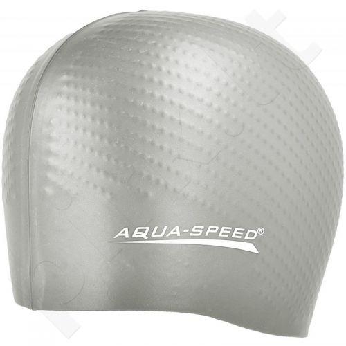 Maudymosi kepuraitė  Aqua-Speed silikonowy Biomassage New sidabrinė