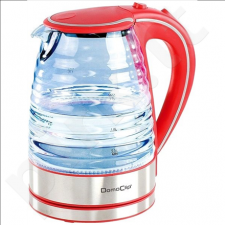 DomoClip DOD128R Rapid Boil Kettle, Red, 2200 W, 1,7 L, 360° rotational base