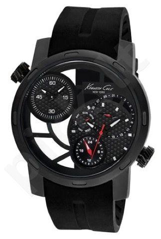 Laikrodis KENNETH COLE - SPORT vyriškas S /S MULTIF. DOUBLE TIME ZONE IP BLACK BLACK SILICON STRAP
