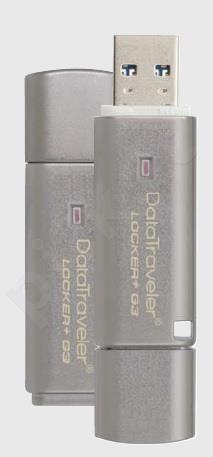 Atmintukas Kingston DTLPG3 8GB USB3 80/10MBs, Aparatinis šifravimas