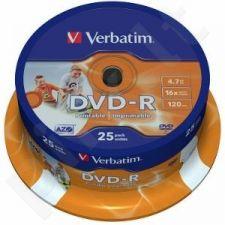 DVD-R Verbatim [ cake box 25 | 4.7GB | 16x | spausdinimui Wide ]