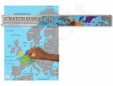 EUROPOS žemėlapis kartoninėje dėžutėje - nutrink aplankytas vietas (86 x 63cm)