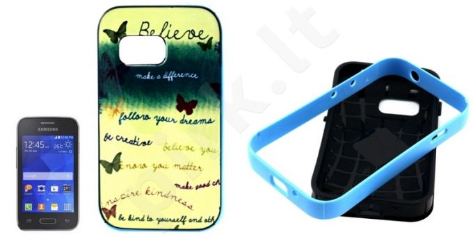 Samsung Galaxy Young 2 dėklas BUTTERFLY Telemax mėlynas