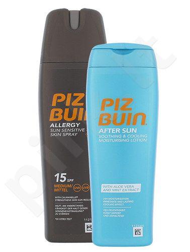 Piz Buin Allergy Sun jautriai odai purškiklis SPF15 Kit rinkinys moterims, (200ml Allergy Sun jautriai odai purškiklis SPF15 + 200mlPo Saulės raminamasis ir drėkinamasis losjonas)