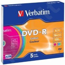 DVD-R Verbatim [ slim jewel case 5 | 4.7GB | 16x | Colour ]