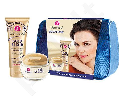 Dermacol Gold Elixir dieninis kremas Kit 7022 rinkinys moterims, (50ml Gold Elixir dieninis kremas + 75ml Gold Elixir rankų kremas)