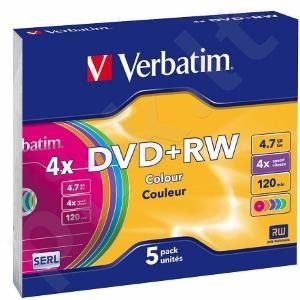 DVD+RW Verbatim [ slim jewel case 5 | 4.7GB | 4x | Colour ]