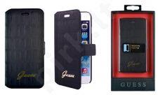 Samsung Galaxy A3 dėklas book Guess juodas su krokodilo odos imitacija