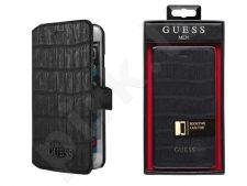Samsung Galaxy A3 dėklas book MEN Guess juodas su krokodilo odos imitacija