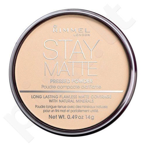 Rimmel London Stay Matte Long Lasting presuota veido pudra, kosmetika moterims, 14g, (003 Peach Glow)[pažeista pakuotė]