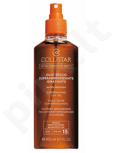 Collistar Supertanning Dry Oil SPF15, kosmetika moterims, 200ml