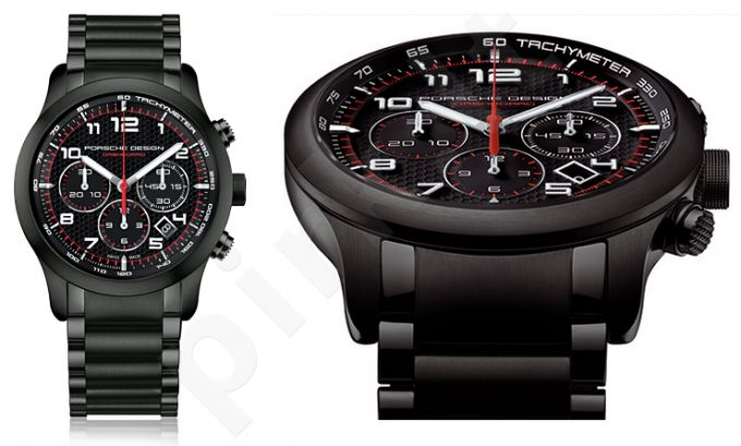 Laikrodis PORSCHE DESIGN DASHBOARD P6612 PVD BLACK - automatinis chronometras ETERNA MOVEMENT. TITANIUM-ALUMINIUM PVD BLACK Case & apyrankė. CARBON Dial with Red details. . . Sapphire glass front&back. WR 1