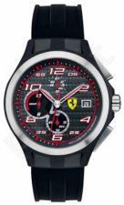 Laikrodis SCUDERIA FERRARI LAP TIME chronometras vyriškas RUBBER STRAP kvarcinis WR 50mt 44mm