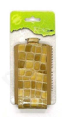 15-V Odinis SEAM universalus dėklas 3 Visin šviesiai rudas su krokodilo odos imitacija