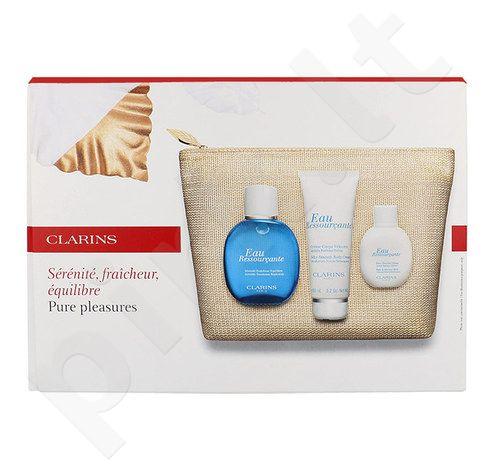 Clarins Pure Pleasures Kit rinkinys moterims, (tonizuojantis vanduo 100 ml + kūno losjonas 100 ml + dušo pienelis 50 ml + krepšys)